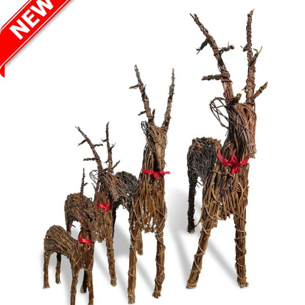 Family of 4' Christmas Wicker Reindeer Set
